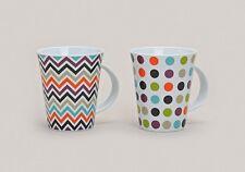 2er Set bunte Porzellan Kaffeebecher / Kaffetassen / Tassen