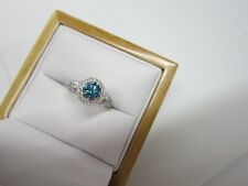 GORGEOUS ESTATE 18 KT GOLD 1.65 CTW. VIVID BLUE DIAMOND RING !!!!