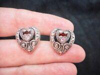 Authentic Vintage Antiqued Silver Tone & Pink Rhinestone Heart Pierced Earrings