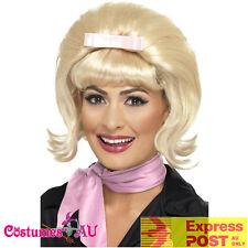 Ladies Blonde 50s Wig Flicked Beehive Bob Hairspray Grease Flip Costume Wigs