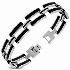 Bracelet with Link Men Stainless Steel with Rubber Black And