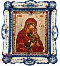 Russian Porcelain Wooden Gzhel gold Christian Icon of Saint Anne Святая Анна