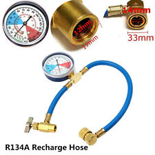 Car AC R134A Refrigerant Refill Coolant Recharge Measuring Hose Analog Gauge Kit