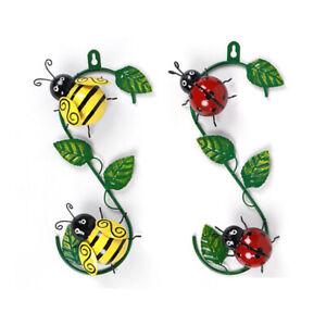 Wall Art Climbing Bumble Bee Ladybird Metal Hooks Outdoor Garden Fence Decor