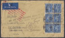 UK GB 1943 WARTIME AIR MAIL PAID COVER TO ALEXANDRIA EGYPT NO AIR MAIL SERVICE
