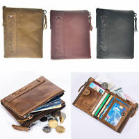 Gents Mens Zipper Luxury Quality Leather Wallet Credit Card Holder Coin Purse