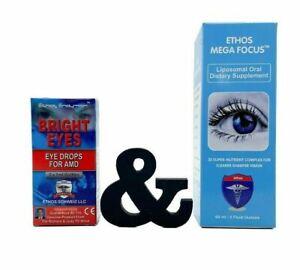Ethos Eye Drops for Macular Degeneration & Mega Focus Liquid Oral Supplement