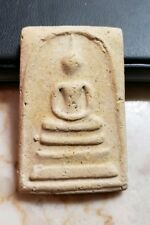 SOMDEJ BUDDHIST AMULET FROM THAILAND WITH WAT RAKANG RED STAMP ON REVERSE SIDE