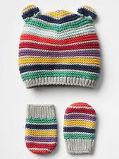GAP Baby Boy / Girl Size Newborn Colorful Rainbow Striped Bear Hat / Mitten Set