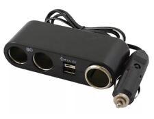 Brookstone 3 Way + USB + Cable 12V Volt Car Light Socket Charger