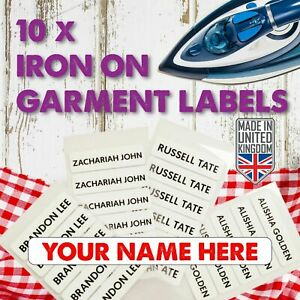 10 Customised Iron On Name Garment Labels Personalised School printed Tape Tags