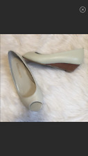 Laura Ashley cream leather Shoes open toe wedge 6