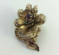 Vintage Filigree Rose Flower Purple Rhinestone Brooch Pin Gold Tone Openwork