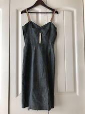 Dolce & Gabbana Gray Wool Plaid With Silk Ruffle Mid Length Dress 36 Italy 00 XX