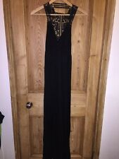 "Miss Selfridge Black Beach Back Lace Detail Dress Size 6 AtoA13"" L58"" *D1"