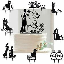 US Romantic Mr Mrs Heart Wedding Cake Topper Decor Bride Groom Black Silhouette