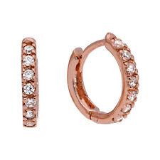 Rose Gold Plated Sterling Silver CZ 12mm Hinged Huggie Hoop Earrings