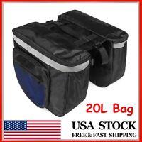 20L Cycling Bicycle Rear Seat Bags Storage Trunk Bike Pannier Rack Waterproof US