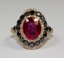 14k Rose Gold Oval Ruby With Black Diamond And White Round Diamond Ring Size 6