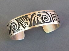 New Native American Hopi Sterling Silver Overlay Cuff Bracelet Unisex