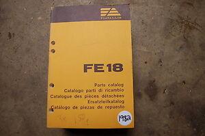 FIAT ALLIS FE18 Excavator Trackhoe Parts Manual book catalog 1982 spare crawler