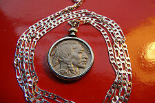 American Buffalo Nickel Indian Head Coin Pendant and chain. 1913-1937