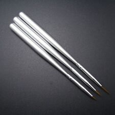 3 Silver Nail Art Brush Ongle Liner Drawing Line Pen Paint perfect for details