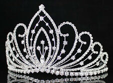 WEDDING PAGEANT RHINESTONE CRYSTAL TIARA CROWN W/ HAIR COMBS BRIDAL PROM 01294S