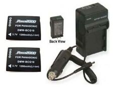 2 DMW-BCG10 DMW-BCG10E Battery Batteries + Charger f/ Panasonic DMC-3D1 DMC3D1