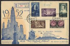 SOUTH AFRICA 1952 REGIST VAN RIEBEECK COVER TO DURBAN NATAL OPENING VAN RIEBEECK