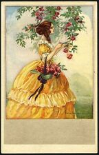 CORBELLA FASHION WOMAN Postcard c 1920's Yellow Dress with Roses in Hat ART DECO