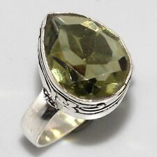 Art Deco Style Handcrafted Antique Design Peridot Silver Ring 8 Gift Simulated