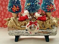 Vintage Mid Century Christmas Tree Santa Claus Yule Log Assemblage Decoration