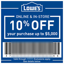 LOWES 10% Off In-Store & Online Discount up to $500 - Instant eDelivery ex:12/31
