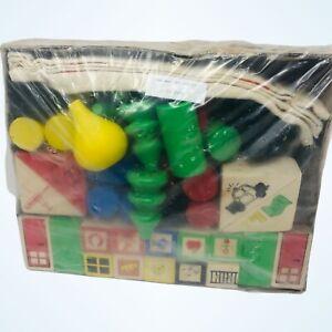IKEA Fibbel Wood Building Blocks Classic Toy Original Canvas Bag 60 Blocks