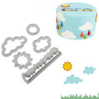 5Pcs Plastic Grass Sun Cloud Fondant Cutter Cake Biscuit Decor Baking Mould Tool