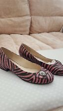 Tamaño 5 Pink Zebra Efecto Cuero Zapatos Planos