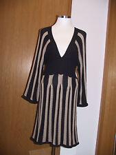 MONARI traumhaftes Strick Kleid Tunika beige schwarz gestreift 36 S 38 M