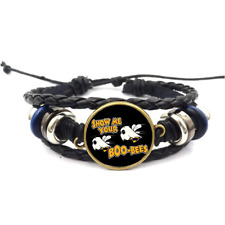 Cabochon Braided Leather Strap Bracelets Show Me Your Boo-Bees Glass
