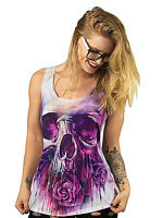 Lethal Angel Painted Skull Sublimation Tattoo Punk Womens Tank Top Shirt LT20384