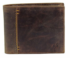 Starhide Mens Distressed Hunter REAL Leather Wallet Gift Boxed 1055 Oiled Brown