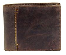 Starhide Hombre Cartera de Cuero Real de efecto envejecido RFID 1055 en caja de regalo marrón engrasado