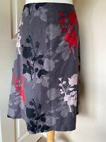Laura Ashley Linen Cotton Lined Skirt Floral Grey U.K. 14 Swing Skirt