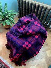 More details for huge welsh tapestry blanket / bedspread / throw in violet & foxglove 245x245cm