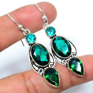 "Emerald Quartz Gemstone 925 Sterling Silver Bali Earring 2.11"" LBE-197"