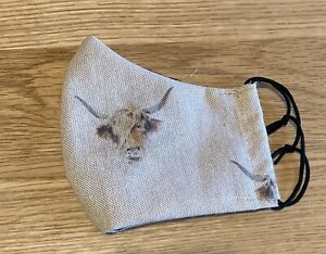 Highland Cattle Face Covering, Cow, Mask, Reusable, Filter Pocket, Handmade