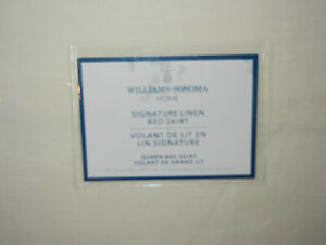 New Williams Sonoma Home Queen Signature Bed Skirt Ivory Linen Bedding