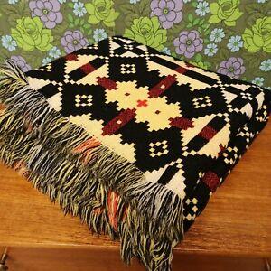 Vintage BRYNKIR Yellow Red Black Welsh Wool Tapestry Blanket - Excellent
