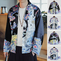 Mens Retro Chinese Style Floral Cardigan Coat Casual Loose Yukata Cape Jacket
