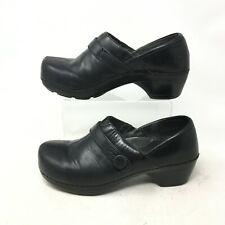 Dansko Solstice Slip On Clogs Comfort Shoes Split Toe Leather Black Womens 37